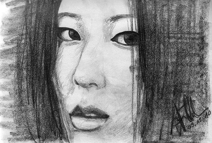 Pencil drawing - Roughly drawn portrait