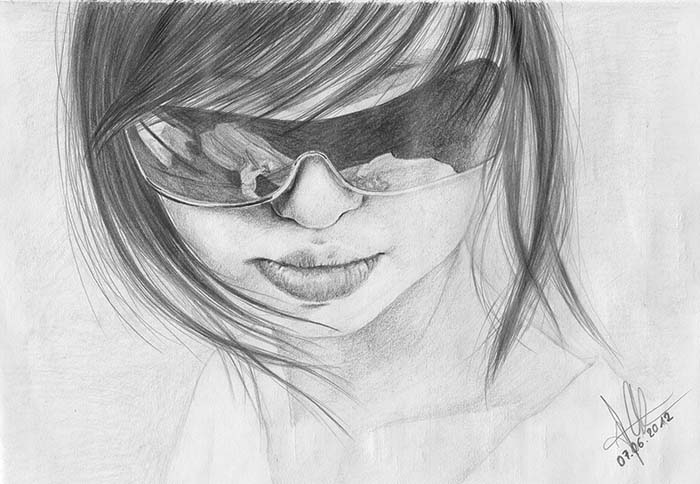 Pencil drawing sunglasses