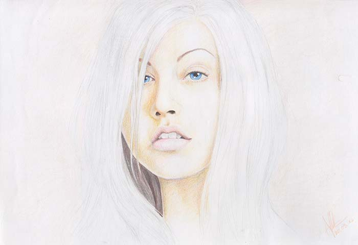 Colored pencil drawing of Christina Aguilera