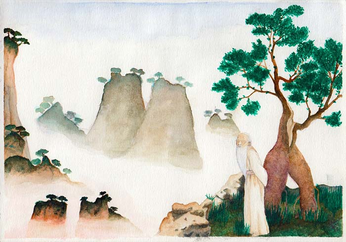 Watercolor painting: landscape