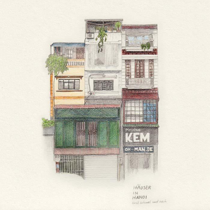 Colored pencil drawing house in Hanoi